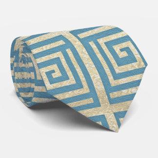 Gravata Teste padrão grego do meandro do azulejo azul do