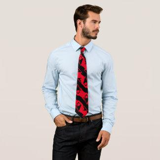 Gravata Teste padrão moderno vermelho preto & brilhante