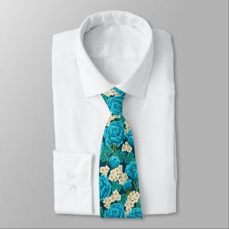 Gravata Teste padrão pintado mão floral do rosa azul do