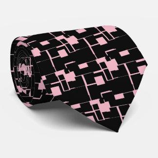 Gravata Teste padrão preto/cor-de-rosa legal na moda