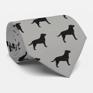 Gravata Teste padrão preto das silhuetas de labrador