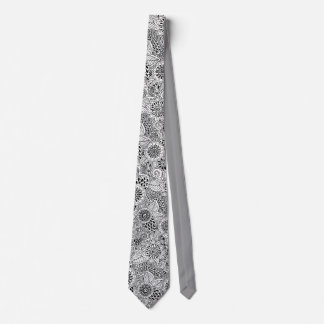 Gravata teste padrão preto e branco floral