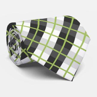 Gravata Teste padrão preto e branco verde retro da xadrez