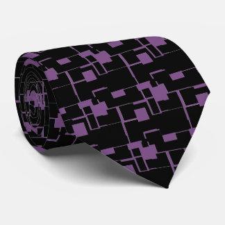 Gravata Teste padrão preto/roxo legal na moda