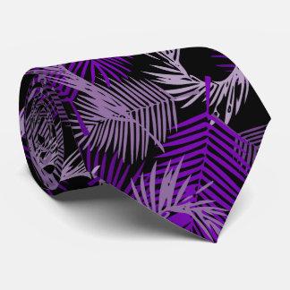 Gravata Teste padrão roxo das folhas de palmeira