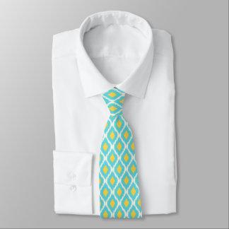 Gravata Teste padrão tribal asteca amarelo azul na moda de