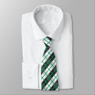 Gravata Teste padrão verde e preto e branco irlandês da
