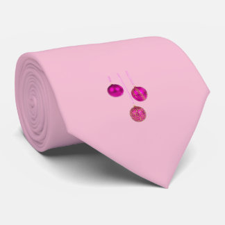 Gravata Três bolas cor-de-rosa do Natal