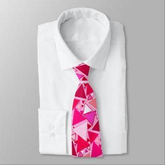 Gravata Triângulos, rosa e Borgonha modernos do meio