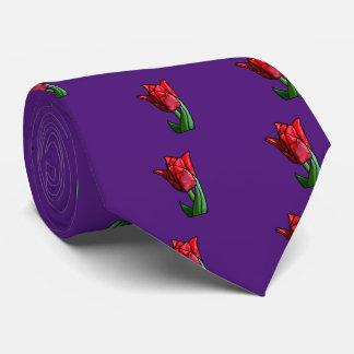Gravata Tulipa vermelha exótica do vitral