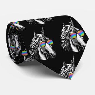 Gravata Unicórnio legal com óculos de sol do arco-íris