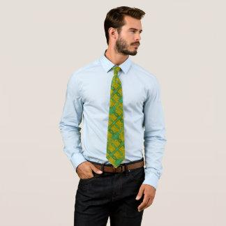 Gravata Vaca dourada no cetim do verde do luxuoso