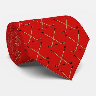 Gravata Varas e disco cruzados vermelho de hóquei