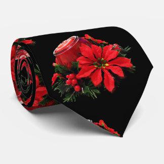 Gravata Vela, azevinho e poinsétia vermelhos festivos do