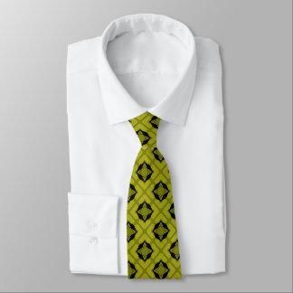 Gravata Verde de mostarda e teste padrão geométrico preto