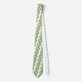 Gravata verde e amarelo da mandala