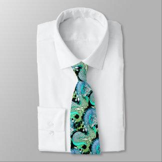 Gravata Verde e amarelo verdes do design do tatuagem do