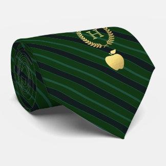 Gravata Verde profissional de ensino do monograma listrado