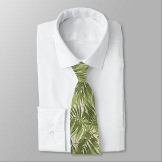 Gravata Verde tropical havaiano do vintage das palmas da