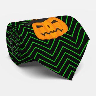 Gravata Vigas verdes e pretas com abóbora Scowling