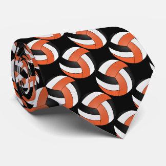 Gravata Voleibol alaranjado, branco e preto do esporte