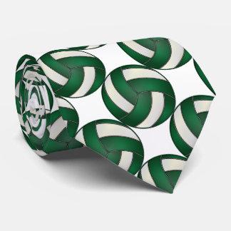 Gravata Voleibol verde escuro e branco desportivo