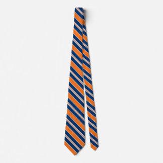 Gravatas alaranjadas e azuis listradas para homens