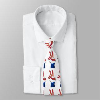 Gravatas azuis brancas vermelhas patrióticas da