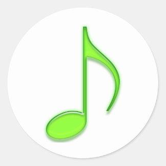 Grave nota da música do verde limão a 8a adesivo redondo
