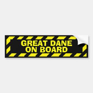 Great dane a bordo da etiqueta amarela preta do adesivo para carro