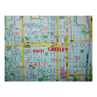 Greeley, poster do mapa do vintage do CO Pôster