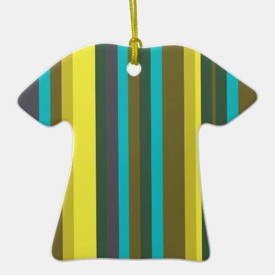 Green_stripes Ornamento De Cerâmica Camiseta
