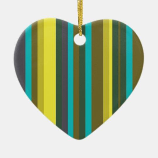 Green_stripes Ornamento De Cerâmica Coração