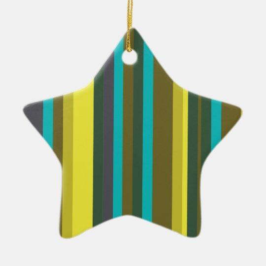 Green_stripes Ornamento De Cerâmica Estrela