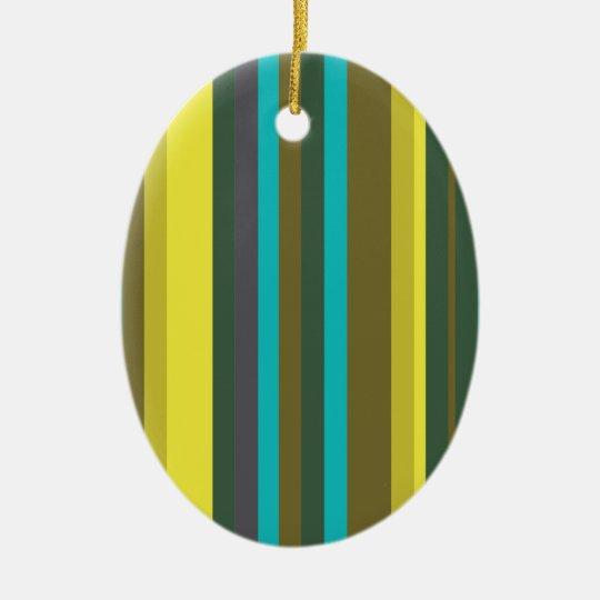 Green_stripes Ornamento De Cerâmica Oval