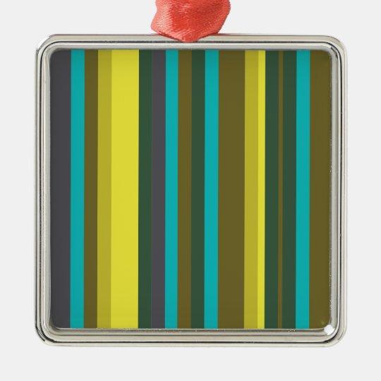 Green_stripes Ornamento Quadrado Cor Prata