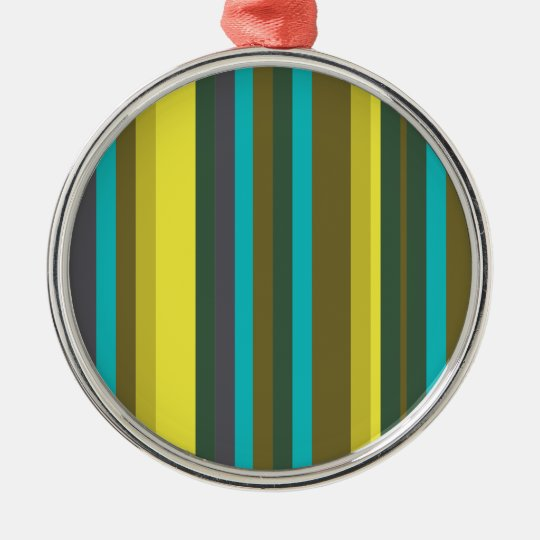 Green_stripes Ornamento Redondo Cor Prata