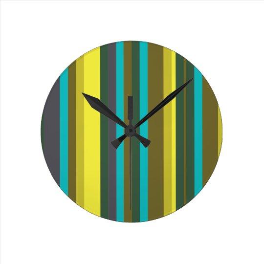 Green_stripes Relógio Redondo