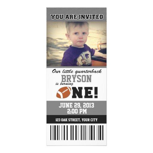 _GREY/BLACK do aniversário do futebol primeiro Convites Personalizados