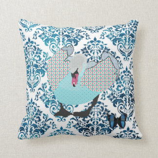Grey's Aquamarine Swan & Butterfly  Damask Mojo Pi Throw Pillows