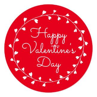 Grinalda do coração do feliz dia dos namorados convite quadrado 13.35 x 13.35cm