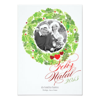 Grinalda do feriado cartão de foto de família convites personalizados