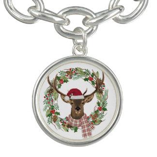 Grinalda do feriado da aguarela com cabeça dos charm bracelet