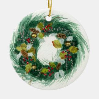 Grinalda do feriado ornamento de cerâmica redondo