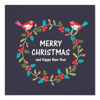 Grinalda do Natal com pássaro bonito Convite Quadrado 13.35 X 13.35cm