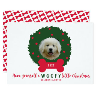 Grinalda do Natal do amante engraçado do cão sua Convite 12.7 X 17.78cm
