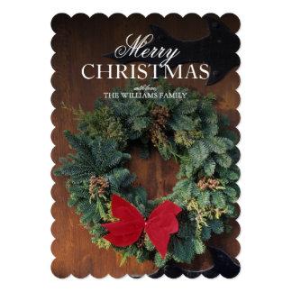 Grinalda do Natal na porta de madeira Convite 12.7 X 17.78cm