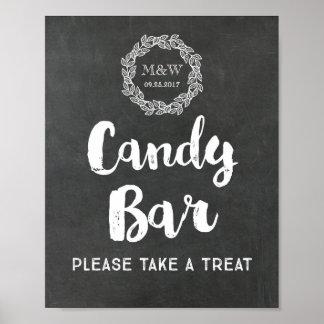 Grinalda do quadro do sinal da barra de chocolate pôster