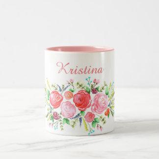 Grinalda do rosa da aguarela caneca de café em dois tons