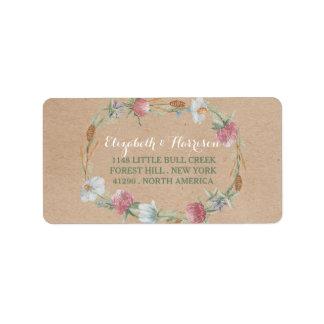 Grinalda do Wildflower no casamento do país de Etiqueta De Endereço